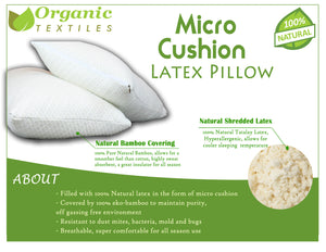 Shredded Latex Pillow Covered with Soft Bamboo Rayon - MyOrganicSleep