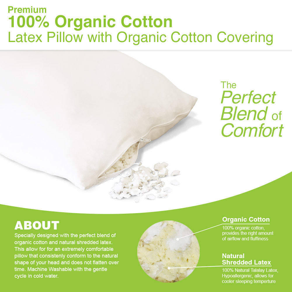Organic Cotton - Latex Blend Pillow - MyOrganicSleep
