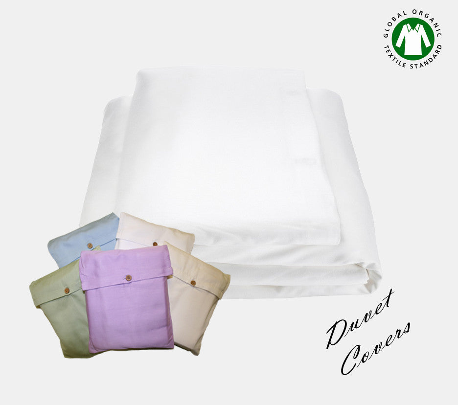 Organic Cotton Duvet Covers Queen made of 350 TC. Comes in twin, full, queen, king, and crib sizes.