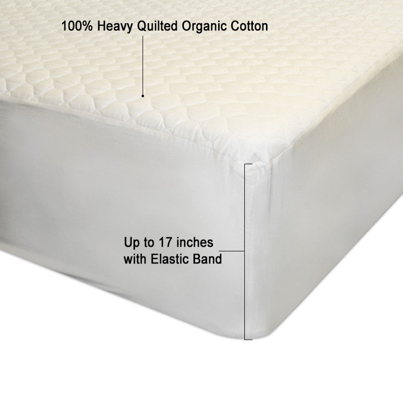 Washed  100% Organic Cotton Filling Mattress Pad   Fitted