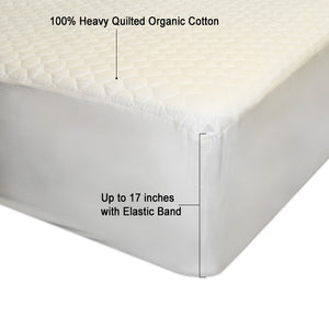 Washed- 100% Organic Cotton Filling Mattress Pad - Fitted - MyOrganicSleep