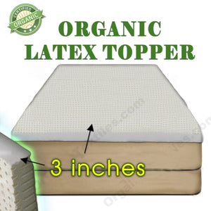 "3"" Organic Latex Mattress Topper - MyOrganicSleep"