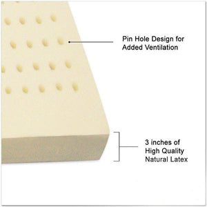 "3"" All-Natural Latex Mattress Topper - MyOrganicSleep"