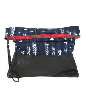 Indigo Clutch in Black Leather