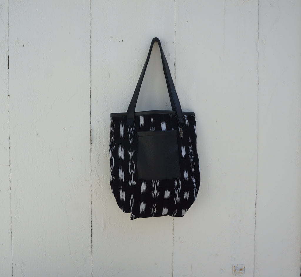 Taylor Tote Bag Ikat in Black Leather