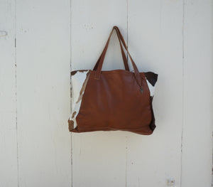 Fur Tosh Tote in Brown Leather