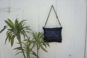 Blue Kantha Gemma Messenger in Black Leather