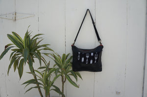 Ikat Gemma Messenger in Black Leather