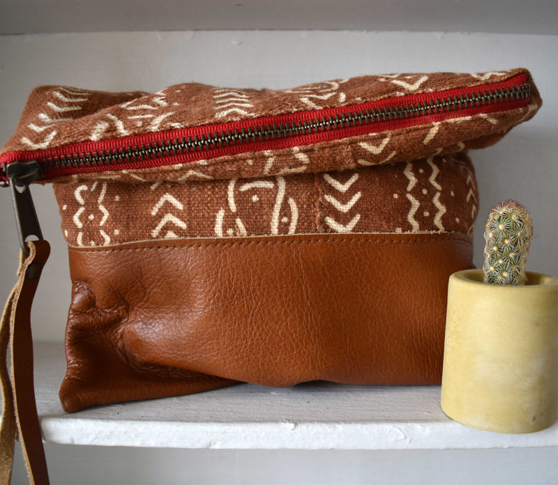 Brown African Mudcloth  Clutch
