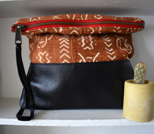 Brown Mudcloth Clutch in Black Leather