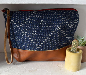 Blue Kantha Moon Pouch