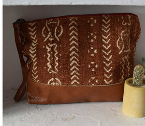 Brown Mudcloth Moon Pouch