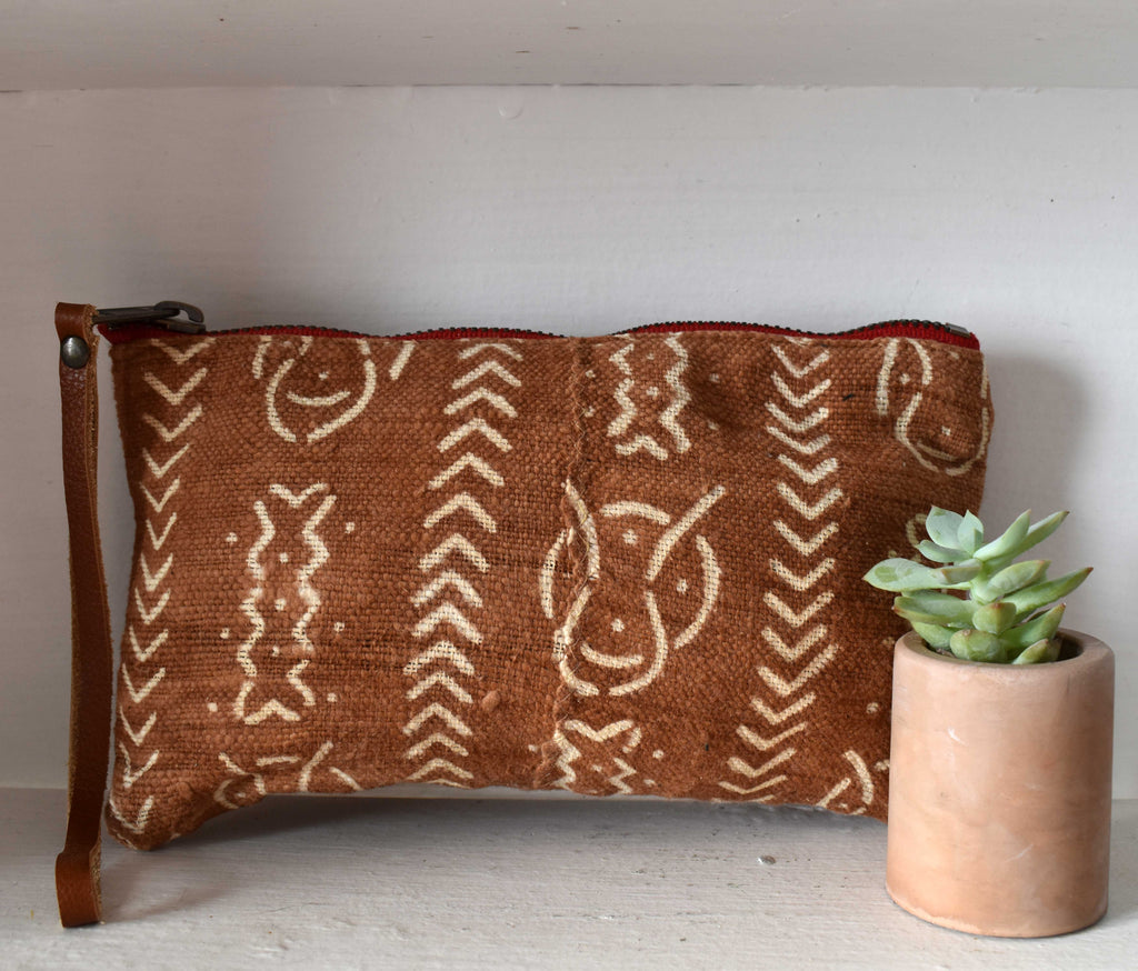 Brown Mudcloth Clara Clutch