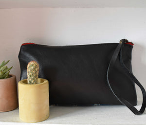 Indigo  Clara Clutch in Black Leather