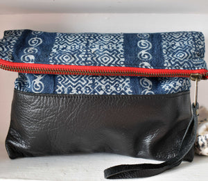 Blue Stainglass Clutch in Black Leather