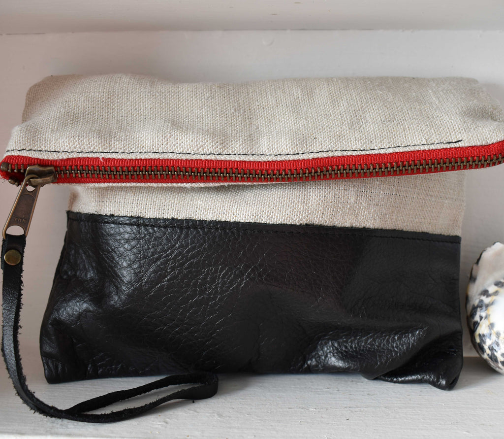 Ellen Clutch in Black Leather