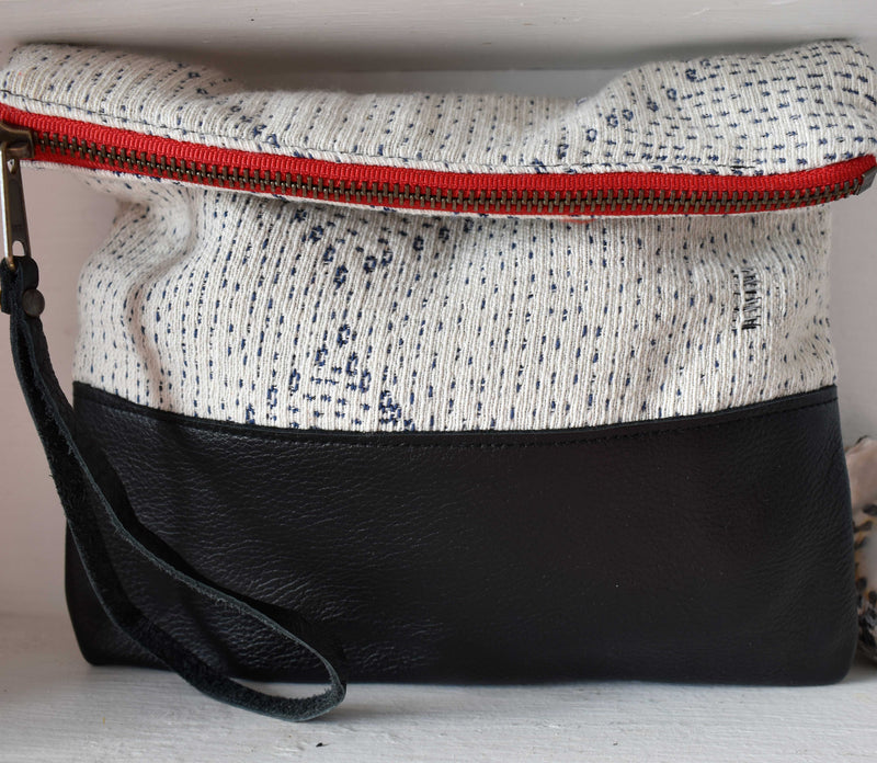 White Kantha Clutch in Black Leather