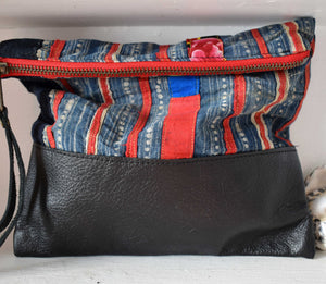 Hanoi Vintage Clutch in Black Leather