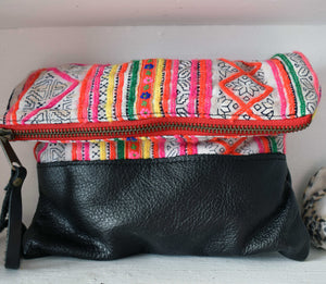 Fiona  Clutch in Black Leather