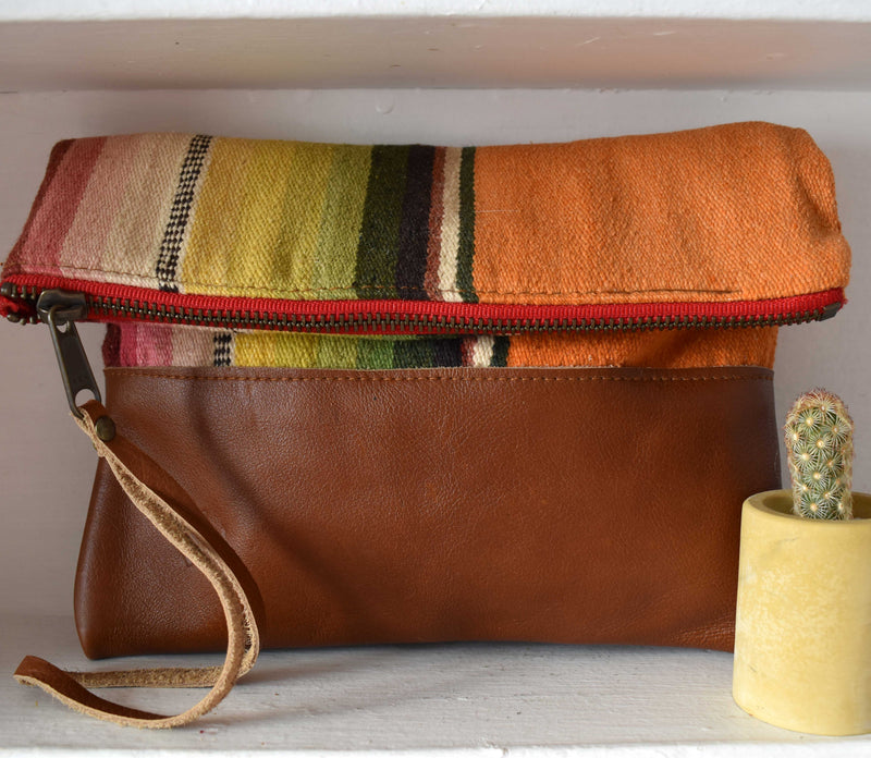 Vintage Orange Serape Clutch