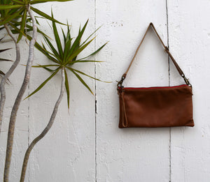 Long Clutch in Brown Leather with detachable strap
