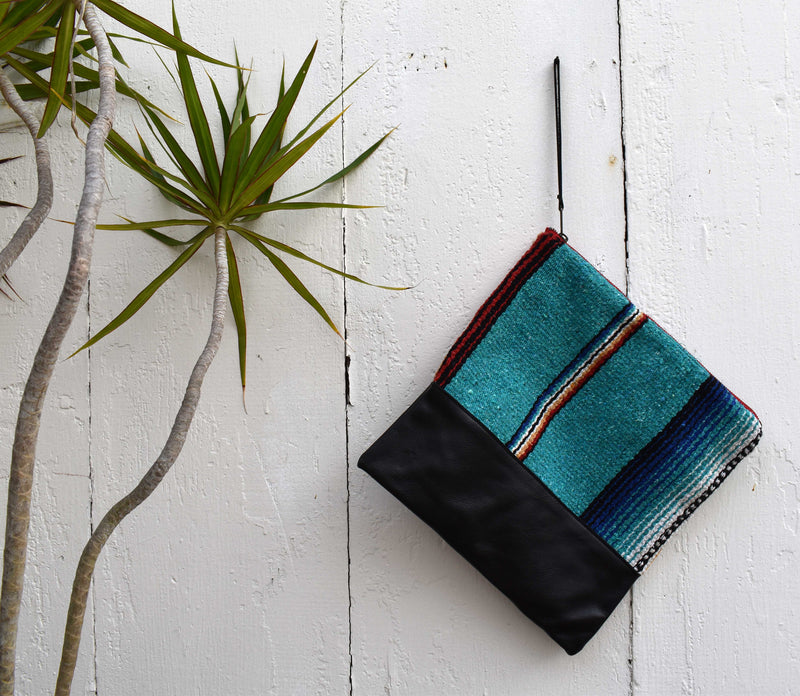 Texas Teal Large Clutch in Black Leather