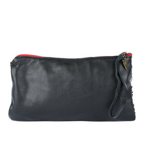 Tulum Nash Clutch in Black Leather