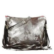 Jacinda Side Fringe Messenger in Silver Shimmer Leather