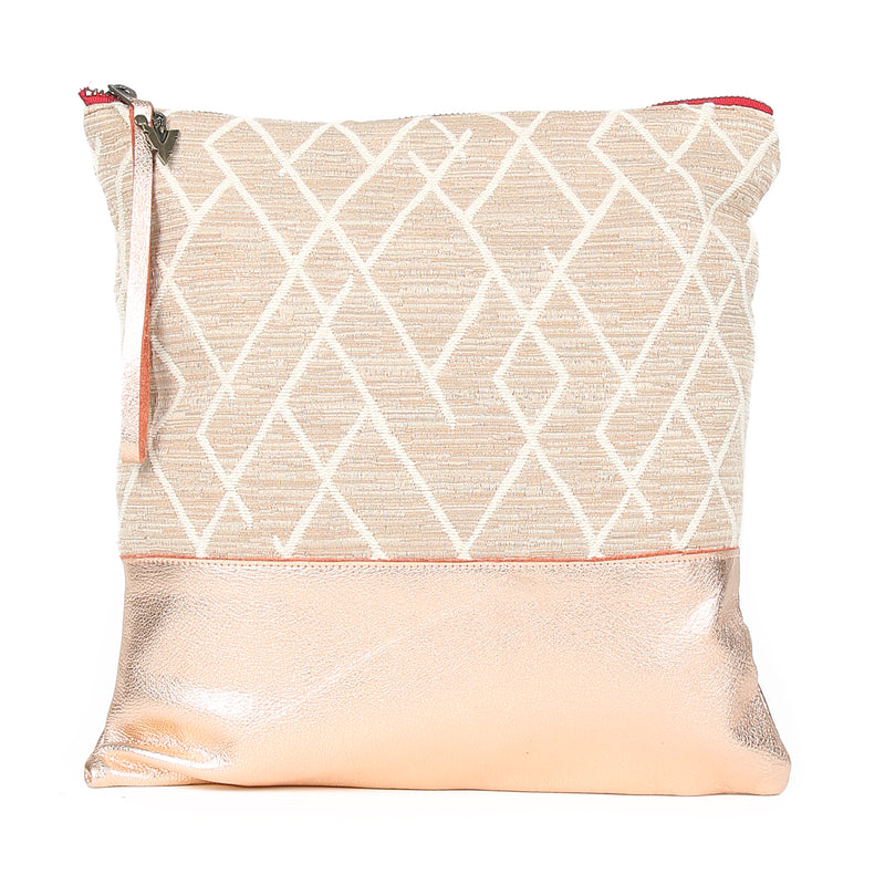 Sunset Clutch in Rose Gold Leather