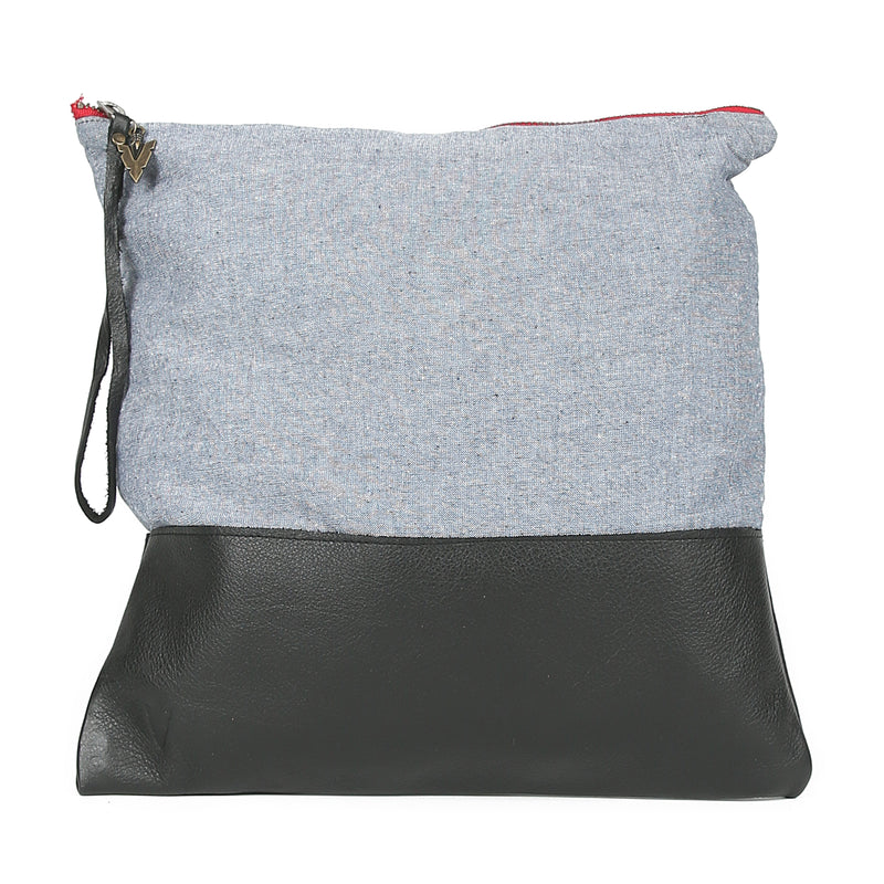 Chambray Large Clutch in Black Leather