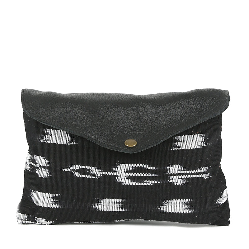 Ikat Mini Envelope Clutch in Black Leather