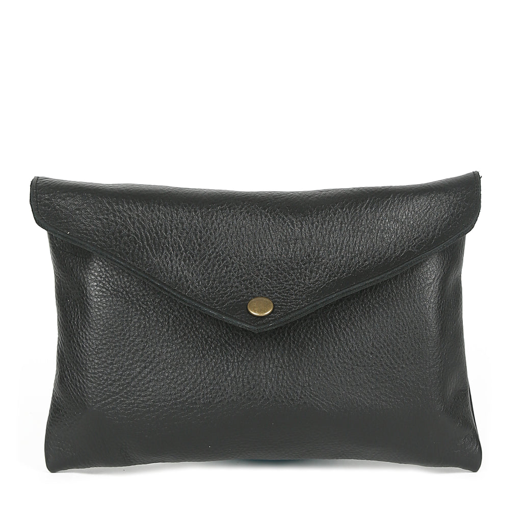 Mini Envelope Clutch in Black Leather