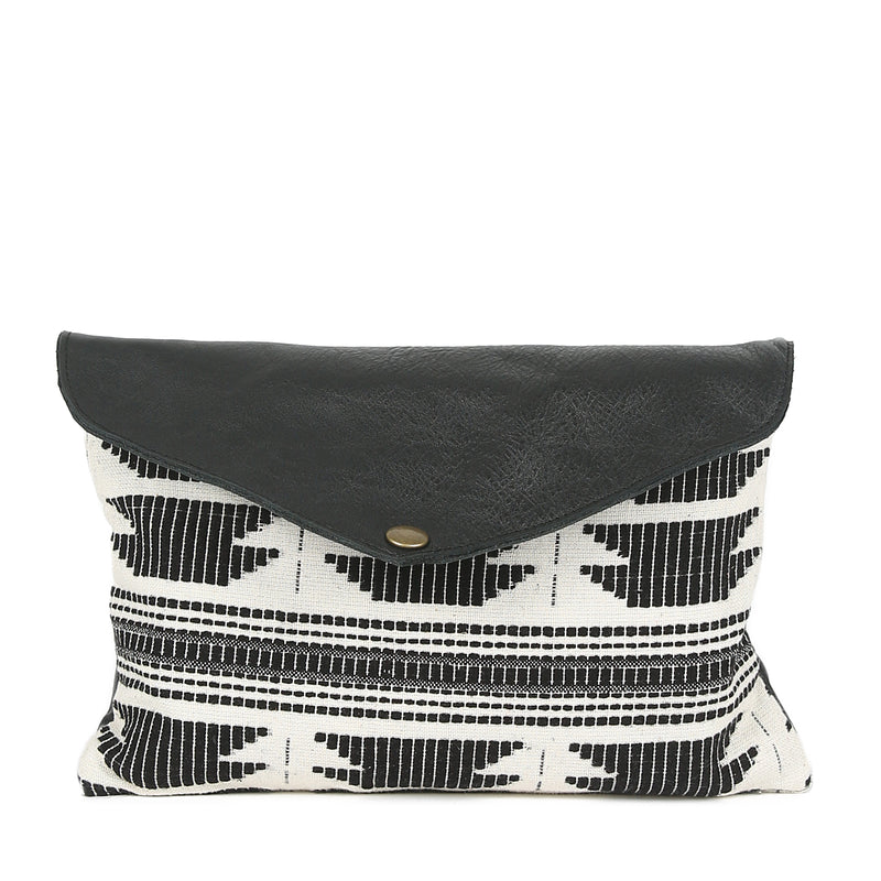 LA Mini Envelope Clutch in Black Leather