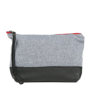 Chambray Moon Pouch in Black Leather