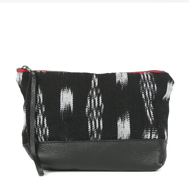 Ikat Moon Pouch in Black Leather