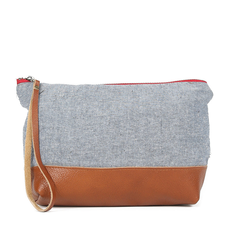 Chambray Moon Pouch