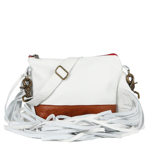 Mini Jacinda Side Fringe Messenger in White Leather with Brown Bottom