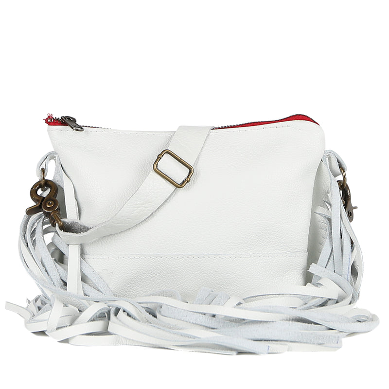 Mini Jacinda Side Fringe Messenger in White Leather