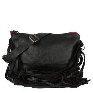 Mini Jacinda Side Fringe Messenger in Black Leather