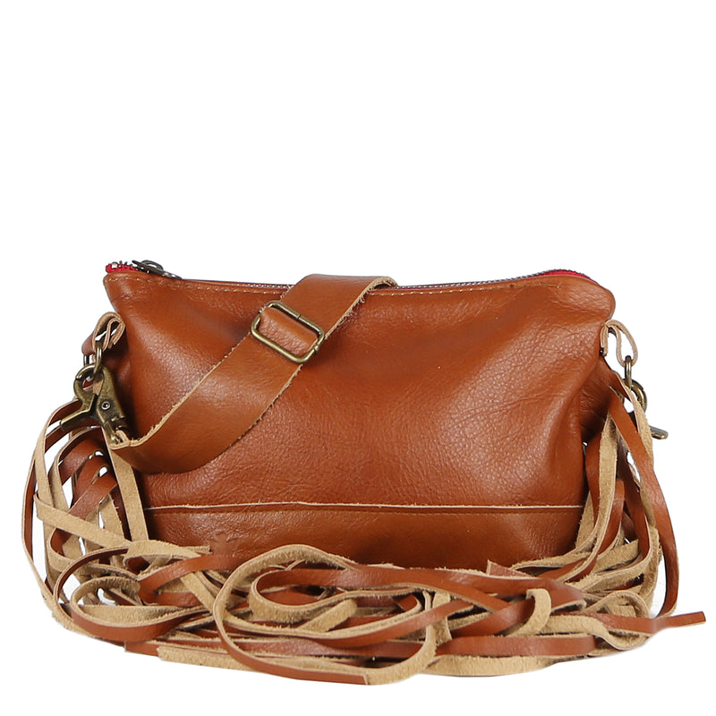 Mini Jacinda Side Fringe Messenger in Brown Leather