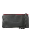 Thai Stripe Clara Clutch in Black Leather