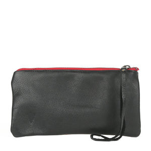 Sunrise Clara Clutch in Black Leather