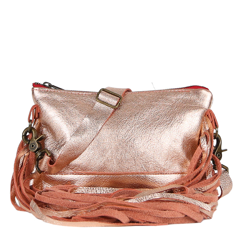 Mini Jacinda Side Fringe Messenger in Rose Gold Leather