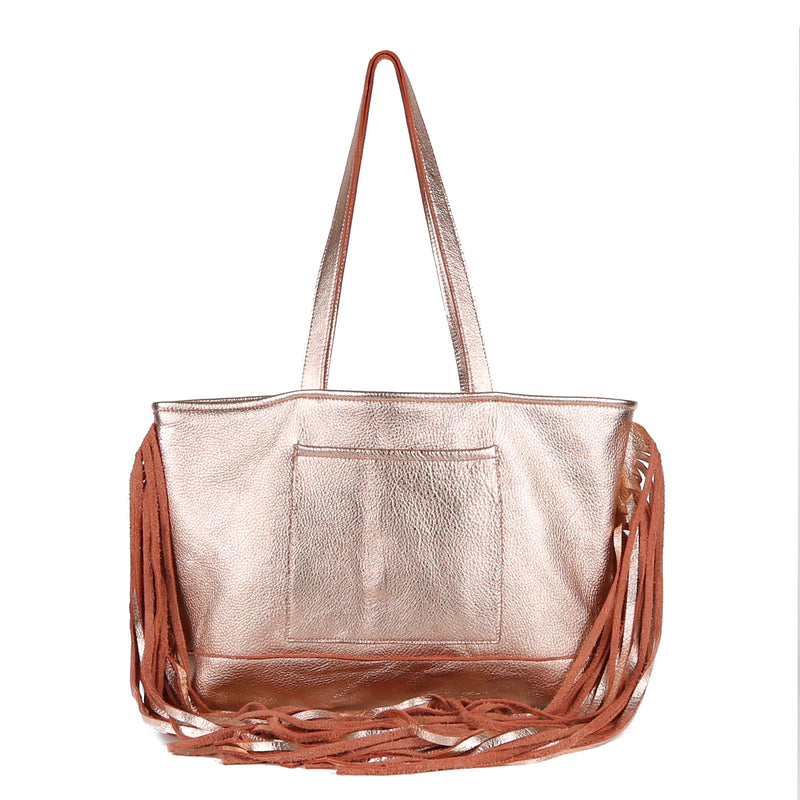 Joplin Fringe Tote Bag in Rose Gold Leather