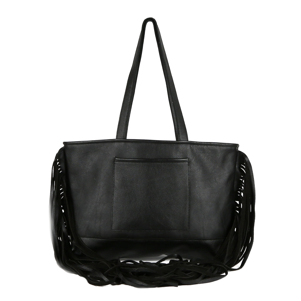 Joplin Fringe Tote Bag in Black Leather