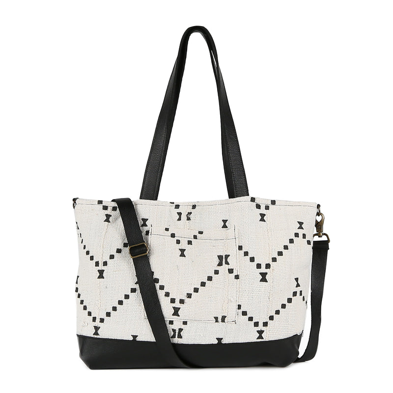 White Mud Cloth Messenger Tote Bag in Black Leather