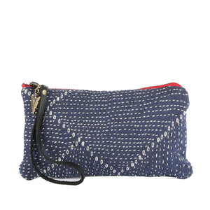 Blue Kantha Clara Clutch in black leather