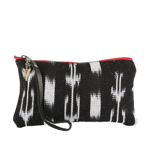 Ikat Clara Clutch in Black Leather