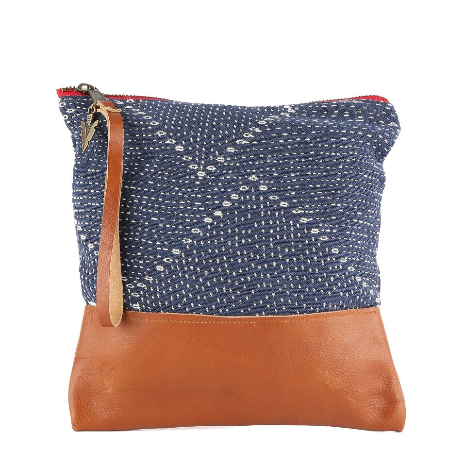 Blue Kantha Clutch
