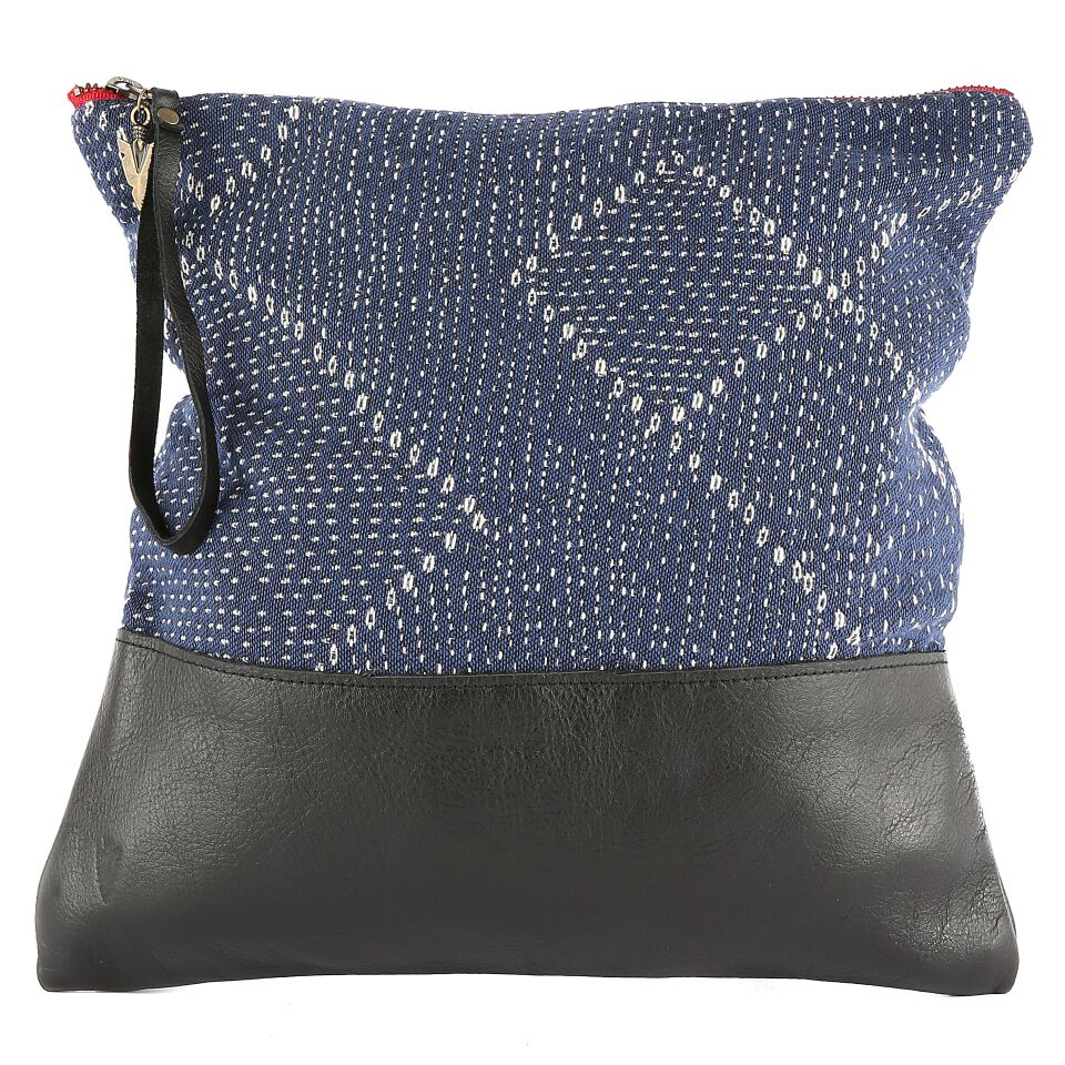 Blue Kantha Large Clutch in Black Leather